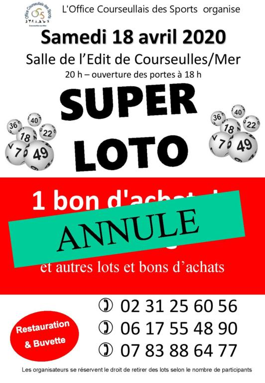 ANNULATION du SUPER LOTO du 18 avril 2020