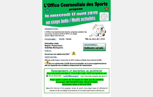 STAGE JUDO / MULTI ACTIVITES- Mercredi 17 avril 2019