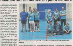 ARTICLE de PRESSE du 16 avril 2019 - section BADMINTON