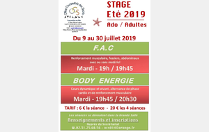 STAGES FITNESS (F.A.C - Body Energie)